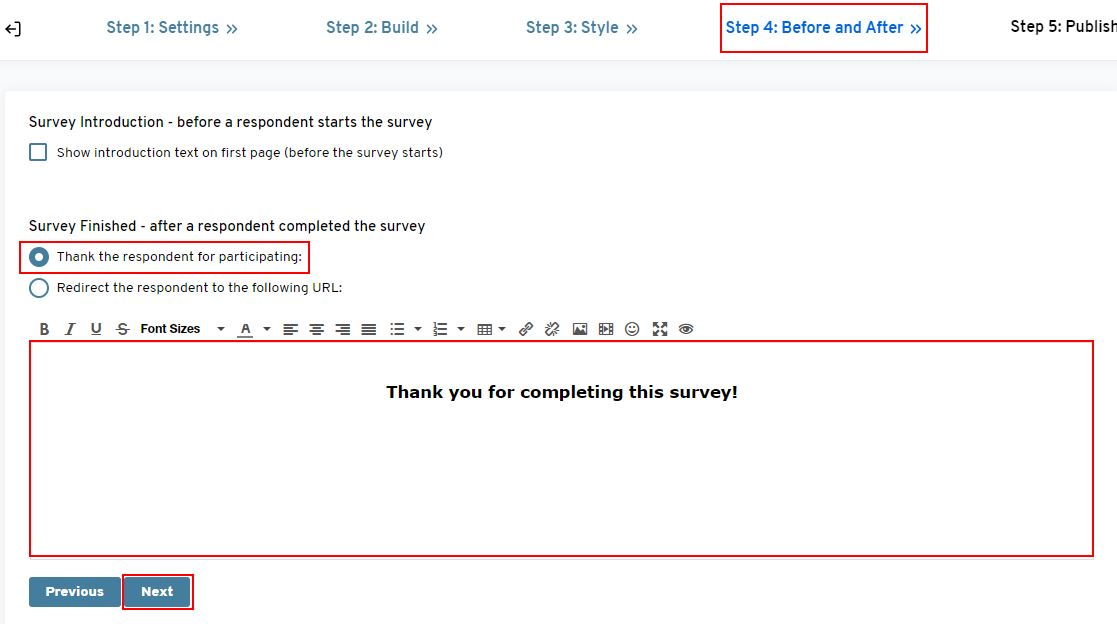 Thank you message in your survey