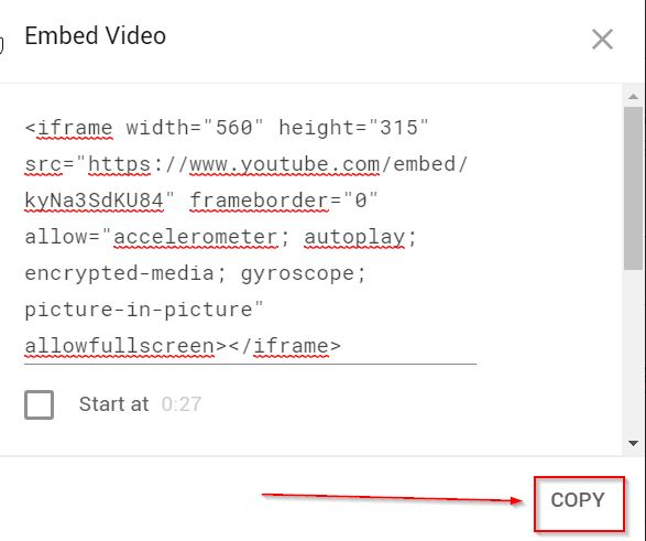 Copy Youtube embed code
