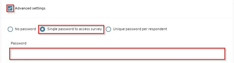 How do i setup a password for my survey?